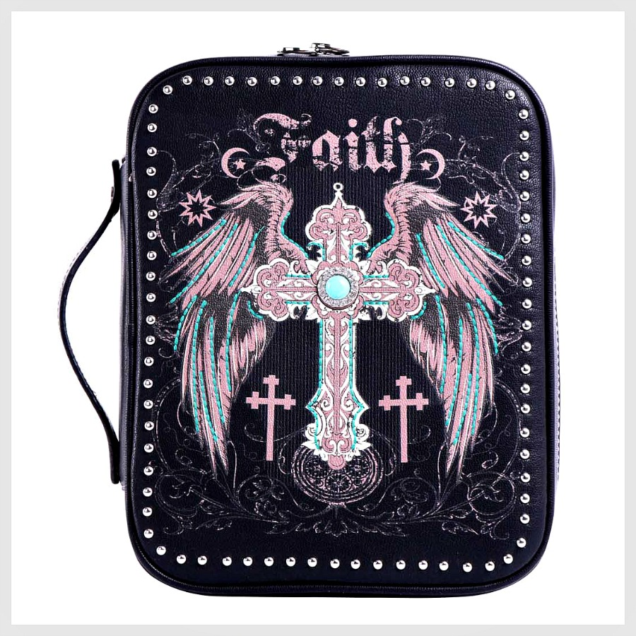 CHRISTIAN COWGIRL BIBLE COVER Pink Embroidery Silver Turquoise Cross Rhinestone & Silver Studded Faux Leather Bible Cover