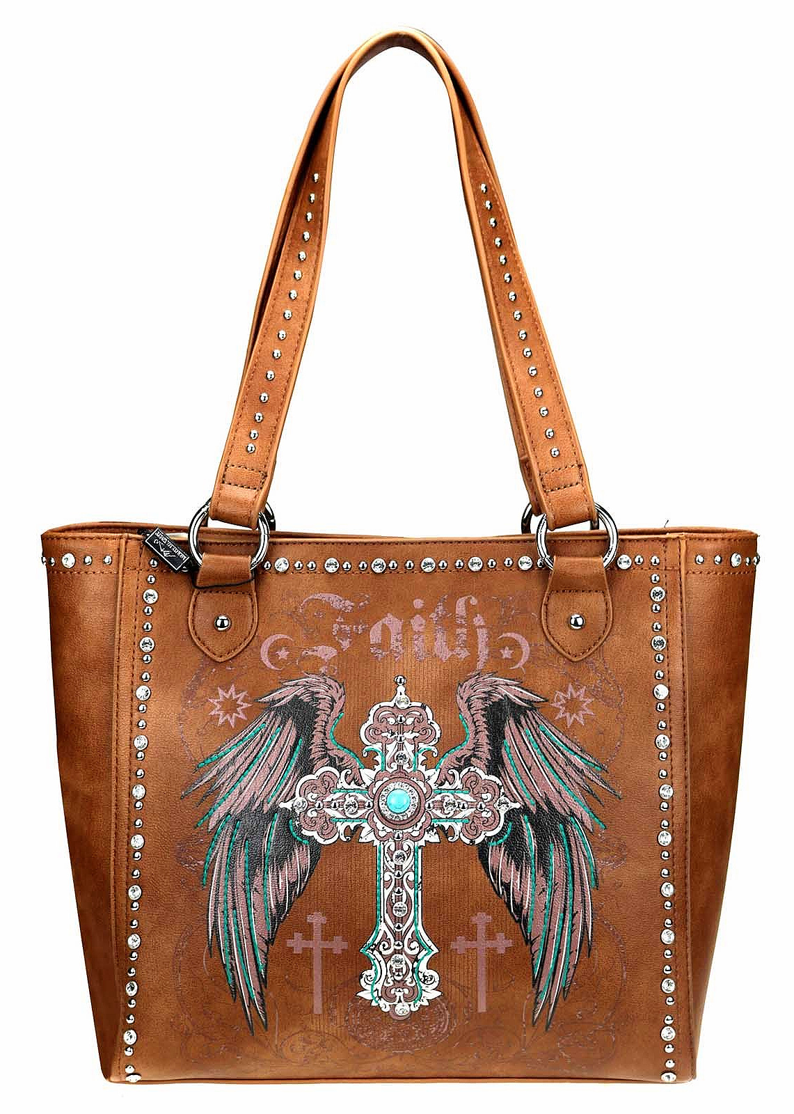 CHRISTIAN COWGIRL HANDBAG  Embroidery Silver Turquoise Cross Rhinestone & Silver Studded Faux Leather Concealed Handgun BROWN Tote Purse