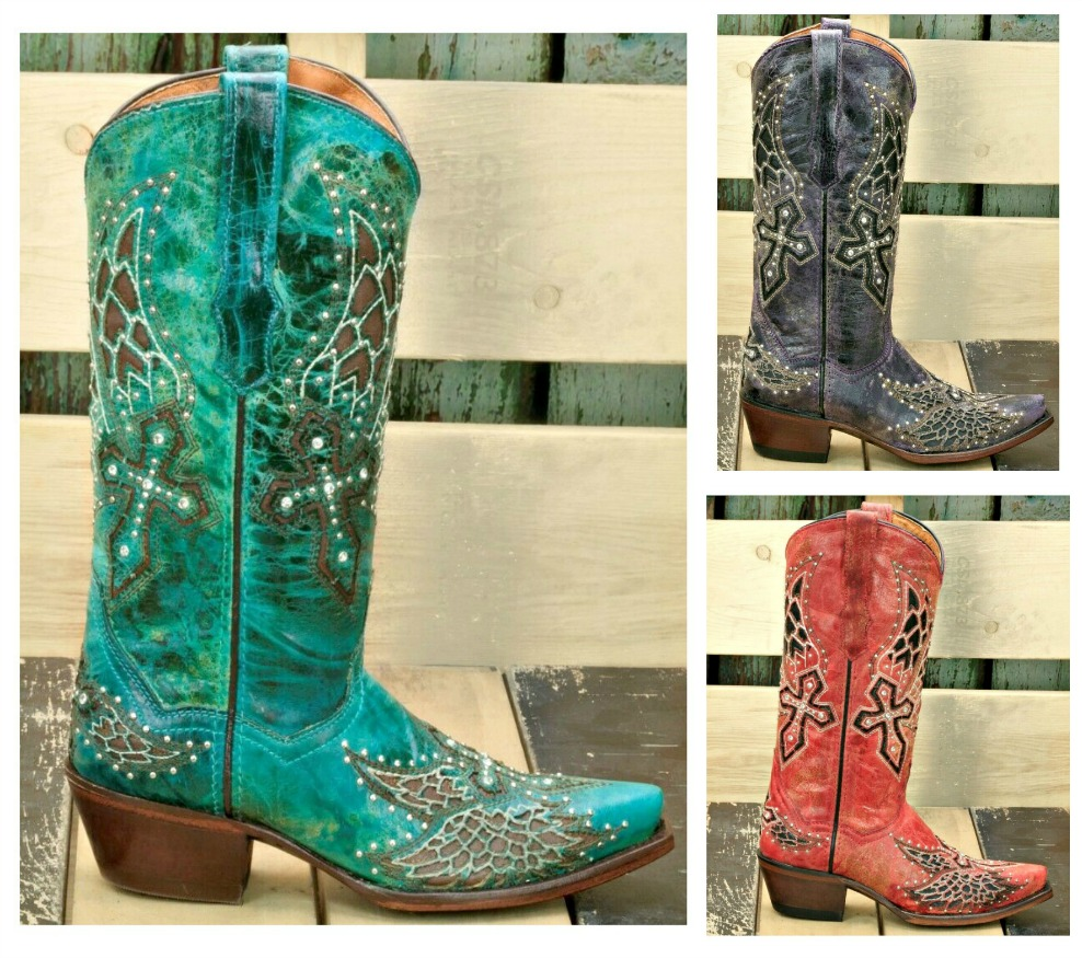 RODEO REBEL BOOTS Silver & Crystal Studded Angel Wings & Cross Rhinestone Cowgirl Boots