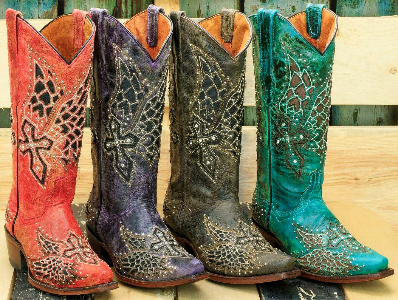 RODEO REBEL BOOTS Silver & Crystal Studded Angel Wings & Cross Rhinestone Cowgirl Boots 4COLORS Sizes 6-11