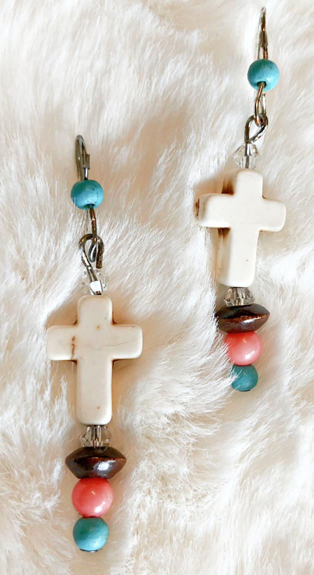 BOHEMIAN COWGIRL EARRINGS Handmade White Cross Turquoise Coral Wood Dangle Silver  Earrings