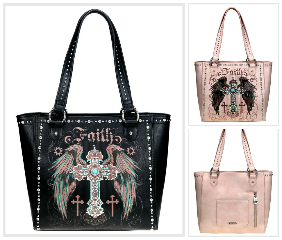 CHRISTIAN COWGIRL HANDBAG Pink Embroidery Silver Turquoise Cross Rhinestone & Silver Studded Faux Leather Concealed Handgun Tote Purse