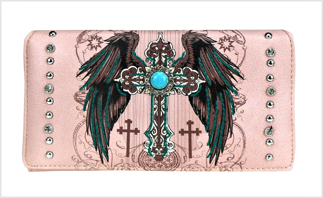 CHRISTIAN COWGIRL WALLET Pink Embroidery Silver Turquoise Cross Rhinestone & Silver Studded Faux Leather Wallet