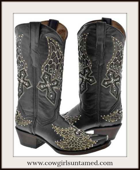 RODEO REBEL BOOTS Silver and Crystal Studded Angel Wings & Cross Black Leather Cowgirl Boots