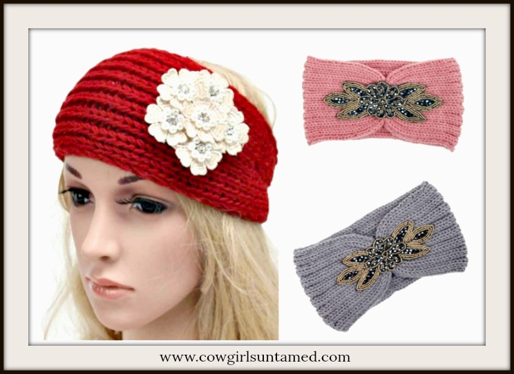 BOHEMIAN COWGIRL HEADBAND Crystal Applique Knit Headband Ear Warmer