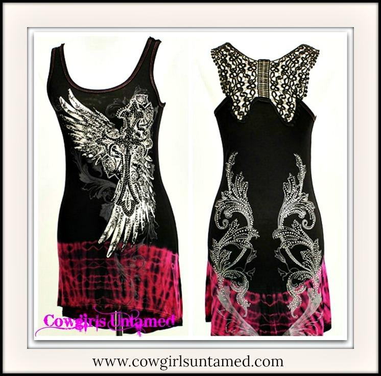 COWGIRL GYPSY TOP Crystal Angel Wings & Cross Black Crochet Lace Racerback Pink Hi Lo Hemline Western Tunic Top