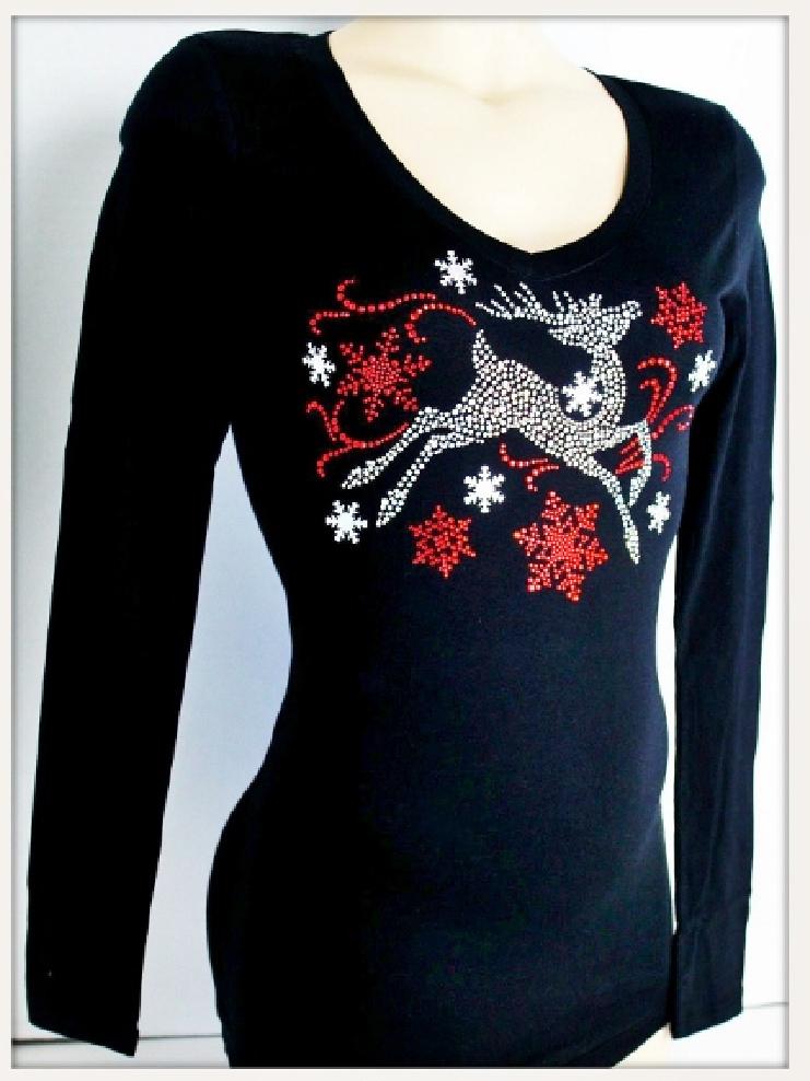 CHRISTMAS TOP Crystal Prancing Deer and Red Snowflake Long Sleeve Top