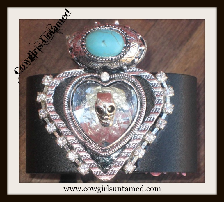 COWGIRL GYPSY CUFF Crystal Heart N Skull with Turquoise Rhinestone Trim on GENUINE BLACK LEATHER