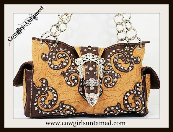 COWGIRL STYLE HANDBAG Buckle Closure Rhinestone Studded Embossed Brown Leather Handbag