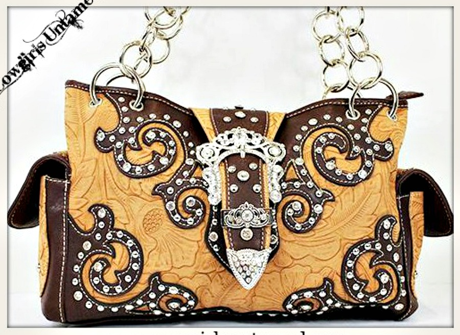 COWGIRL STYLE HANDBAG Buckle Closure Rhinestone Studded Embossed Brown Leather Handbag LAST ONE!