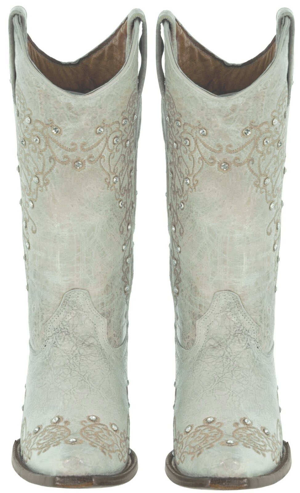 THE WEDDING BOOT Off White Crystal Studded Floral Embroidery Genuine Leather Womens Cowgirl Boots 5-10