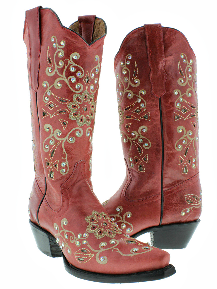COWGIRL STYLE BOOTS Womens Tan Floral Snakeskin Crystal Studded Western Red Genuine Leather Snip Toe Cowgirl Boots