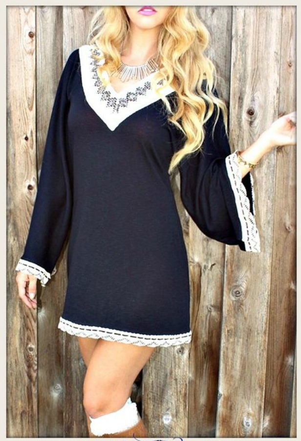 RODEO FOX DRESS Kimono Sleeve Lace Crochet Boho Mini Dress LAST ONE XL