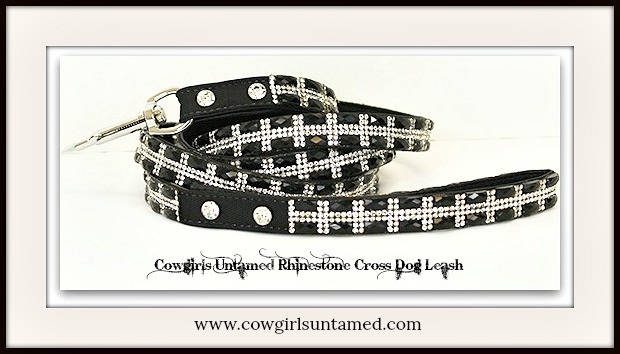 COWGIRL PET STYLE LEASH Dog Glam Rhinestone Cross on Black Pet Leash