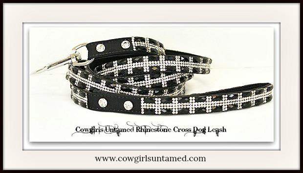 COWGIRL PET STYLE LEASH Dog Glam Rhinestone Cross on Black Pet Leash