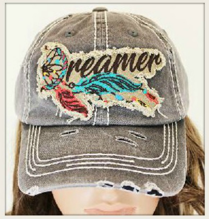 "WILDFLOWER CAP ""Dreamer"" with Embroidered Feather Accent Grey Cap"