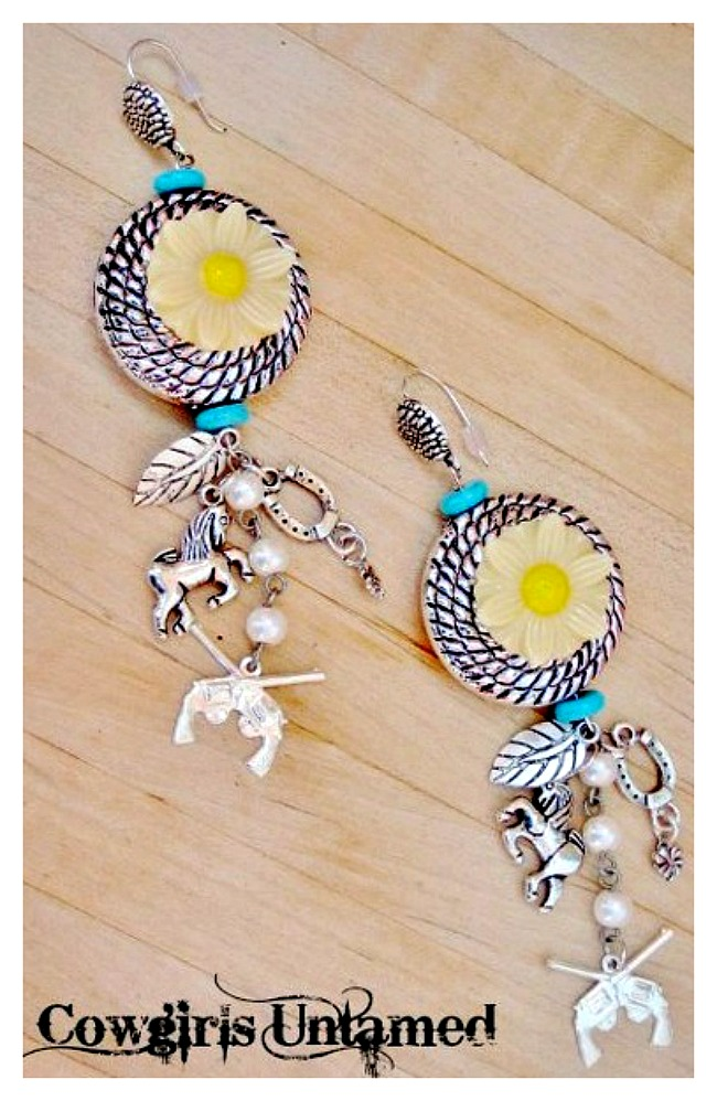 COUNTRY COWGIRL EARRINGS Custom Turquoise  & Yellow Daisy Charm Earrings