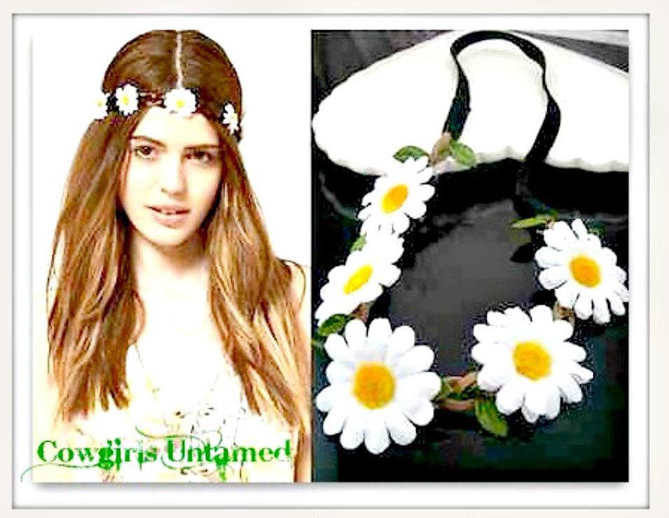 BOHO CHIC HEADBAND Daisy Flowers on Braided Leather Stretchy Boho Headband