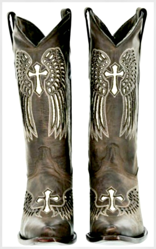 COWGIRL SEQUIN BOOTS Gold Sequin Cross Angel Wing Snip Toe GENUINE Dark Brown LEATHER Boots Sizes 5-11
