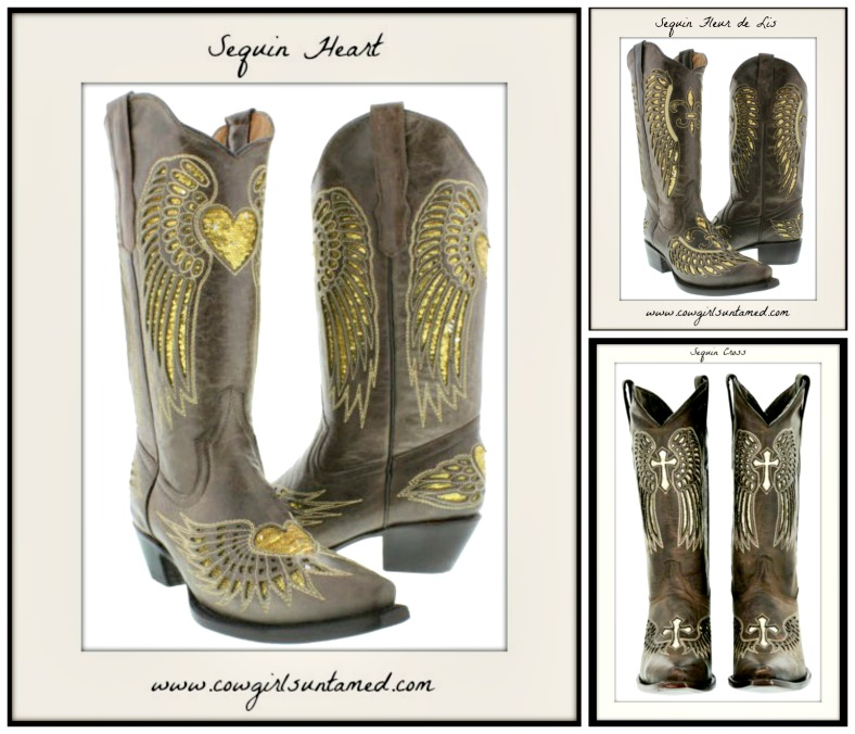 COWGIRL STYLE BOOTS Gold Sequin Angel Wing Snip Toe GENUINE Dark Brown LEATHER Boots