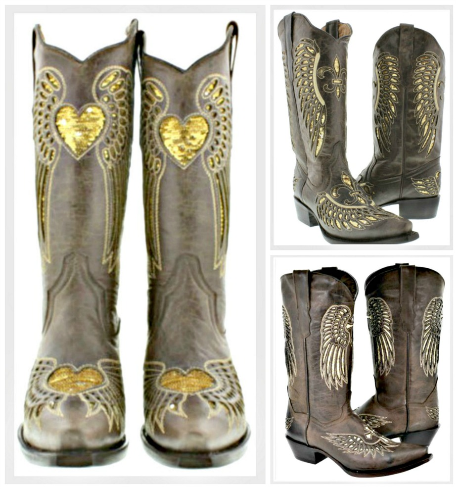 COWGIRL SEQUIN BOOTS Gold Sequin Angel Wing Snip Toe GENUINE Dark Brown LEATHER Boots