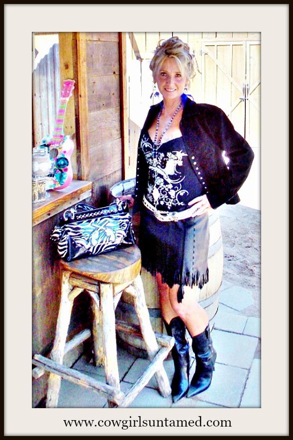 Ambition New York Blacklamb Leather Fringe Skirt Leather