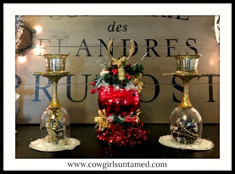 COWGIRL CHRISTMAS DECOR Handmade Embellished Gold Farmhouse Table Decorations