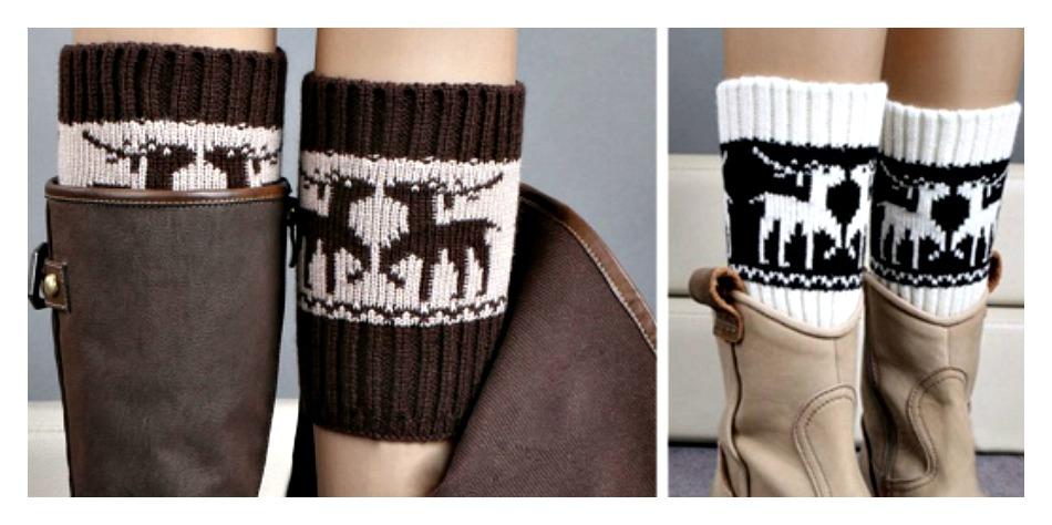 WINTER TIME BOOT CUFFS Black or Brown Sweater Knit Deer Leg Wamers/ Boot Cuffs