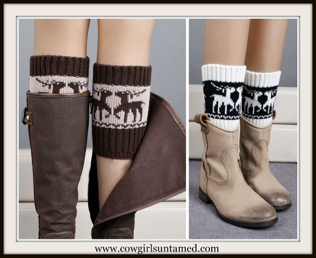COWGIRL STYLE BOOT CUFFS Black or Brown Sweater Knit Deer Leg Wamers/ Boot Cuffs