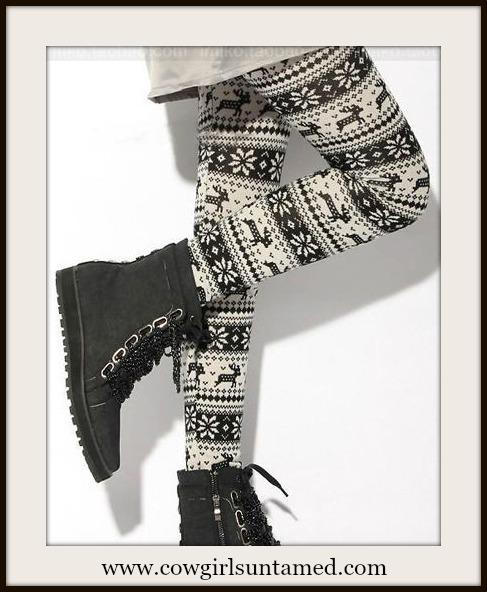 COUNTRY COWGIRL LEGGINGS Deer & Snowflake Black N White Leggings