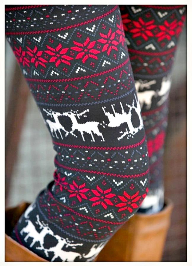 WINTER TIME LEGGINGS Deer & Poinsettia Flower Grey Black N Red Winter Leggings