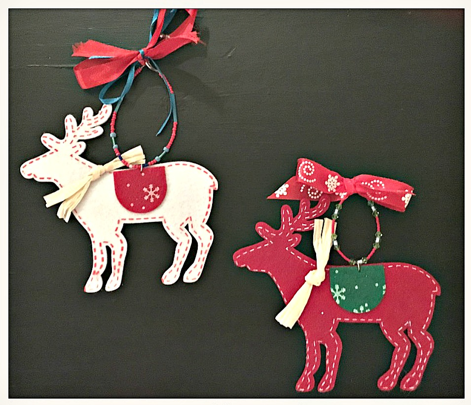 COWGIRL CHRISTMAS DECOR Handmade White and Red Felt Deer Beaded Bow Ornaments