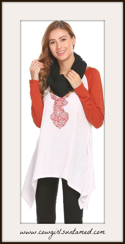 COWGIRL STYLE TOP Red White Deer Long Sleeve High Low Hemline Top