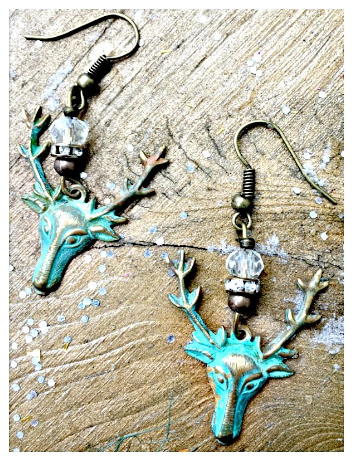 VINTAGE COWGIRL EARRINGS Patina Buck Deer Crystal and Rhinestone Antique Bronze Earrings
