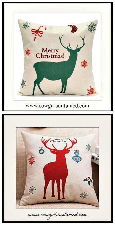 "COWGIRL CHRISTMAS DECOR ""Merry Christmas"" Reindeer Stocking and Snowflakes "" Vintage Style Pillow Case"