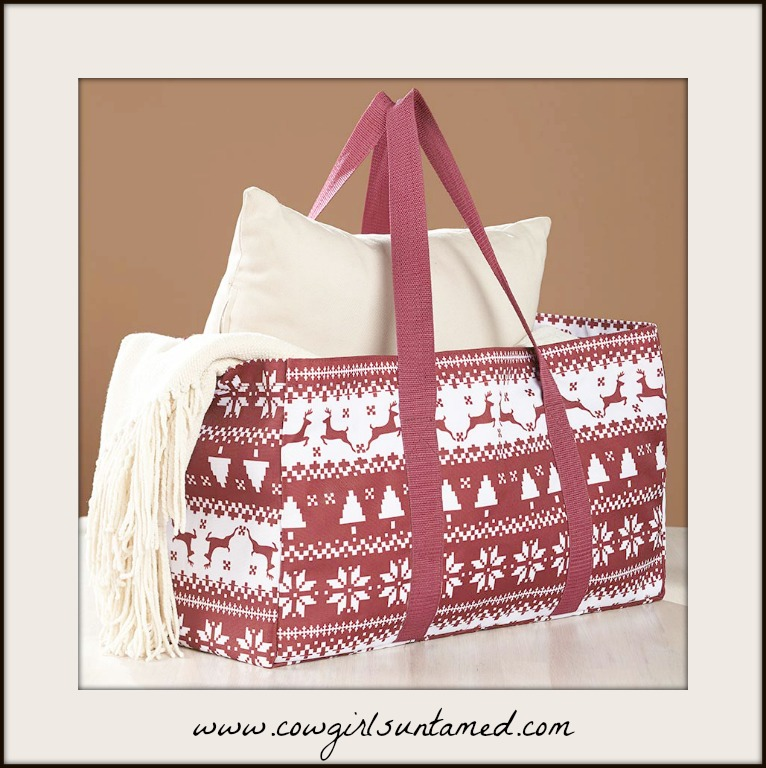 COWGIRL STYLE TOTE Red and White Deer Pattern Multi Functional Utility Tote