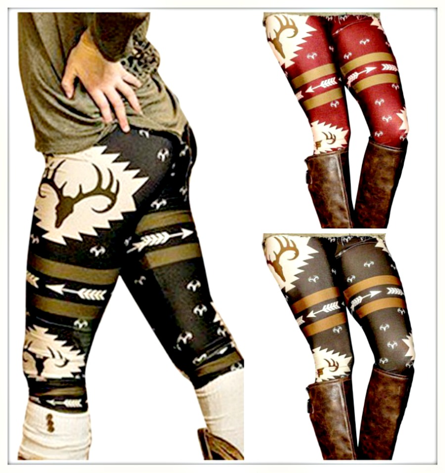 COUNTRY COWGIRL LEGGINGS Deer and Arrow Stretchy Leggings  3 COLORS!