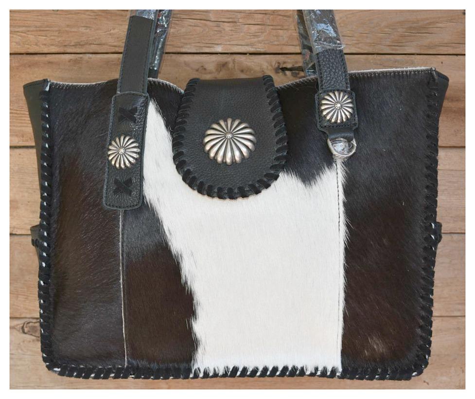 DELILA SHOULDER BAG Black & White Hair on Hide Genuine Leather Wide Tote