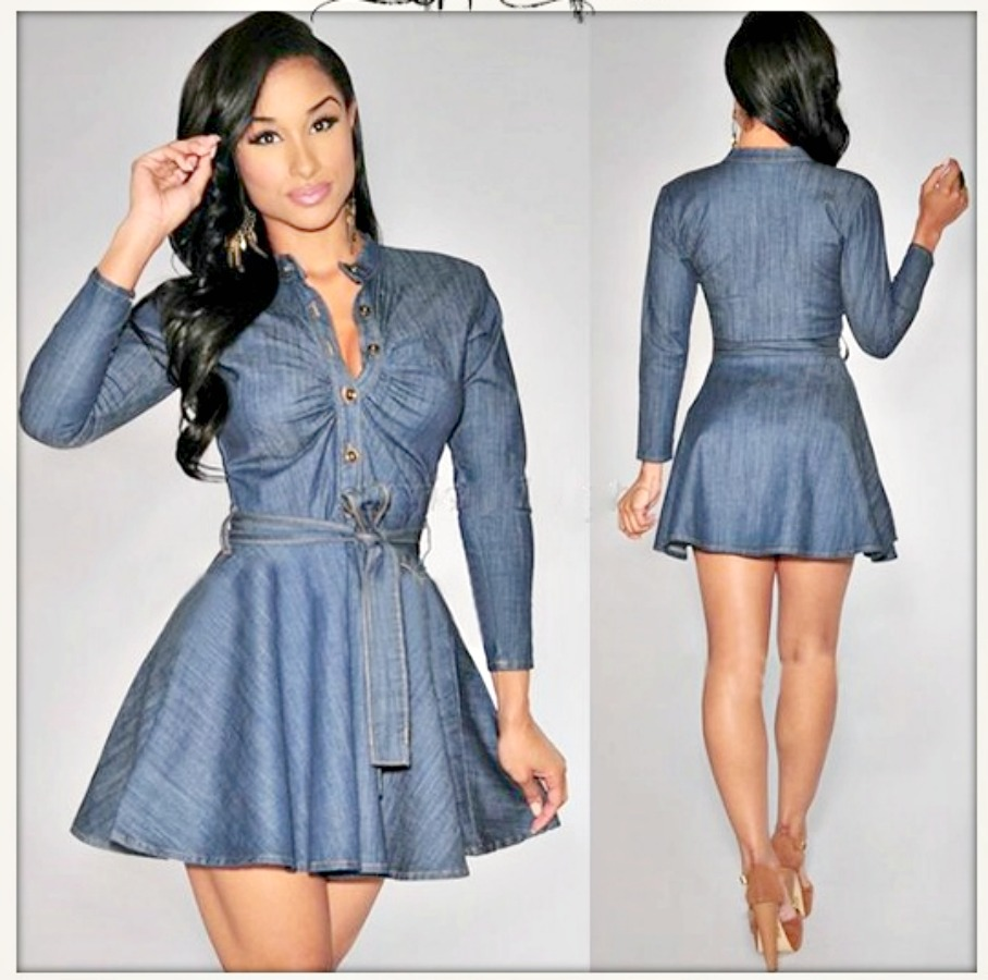 COWGIRL STYLE DRESS Ruched Top Blue