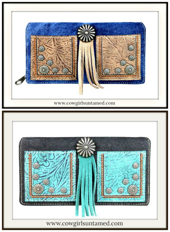 VINTAGE COWGIRL WALLET Tooled Leather on Washed Denim Secretary Style Concho Wallet