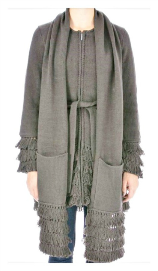 DESIGNER SWEATER Tiered Fringe and Belted Gray Long Sleeve Sweater Coat FREE SCARF & BELT