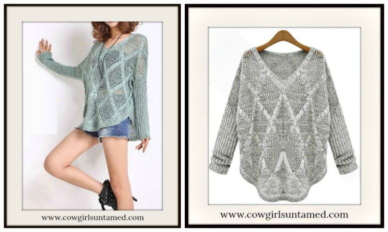 COWGIRL STYLE SWEATER Diamond Pattern V Neck Long Sleeve Lightweight Western Sweater