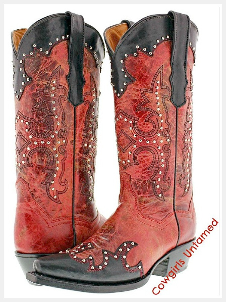COWGIRL STYLE BOOTS Distressed Red Silver Studded Black Trim Genuine Leather Cowgirl Boots
