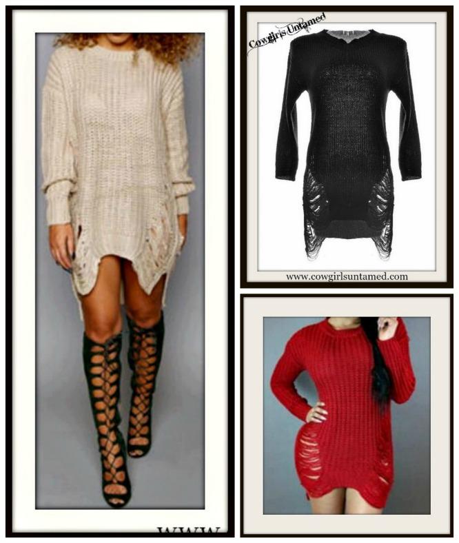 RODEO REBEL SWEATER Distressed Hi Lo Hemline Lightweight Sweater  3 COLORS!