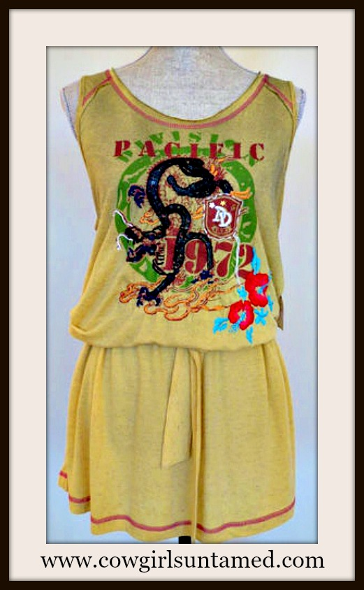 DESIGNER DRESS Gold Yellow Red Beaded Embroidered Long Tunic Tank Designer Western Dress by DOUBLE D RANCH
