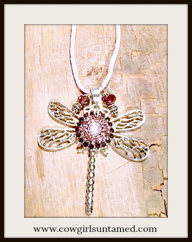 COWGIRL ATTITUDE NECKLACE Silver Filigree Winged Dragonfly w/ Purple Rhinestone Snap Charm Necklace