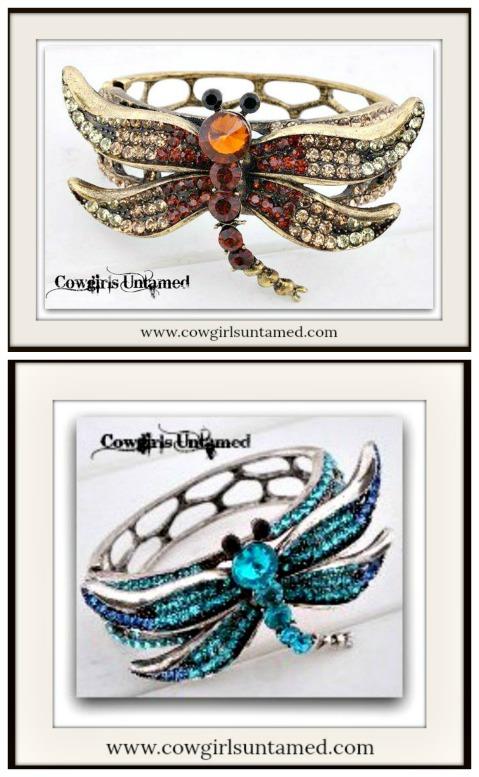 TOUCH OF GLAM CUFF Rhinestone Dragonfly Bangle Cuff Bracelet
