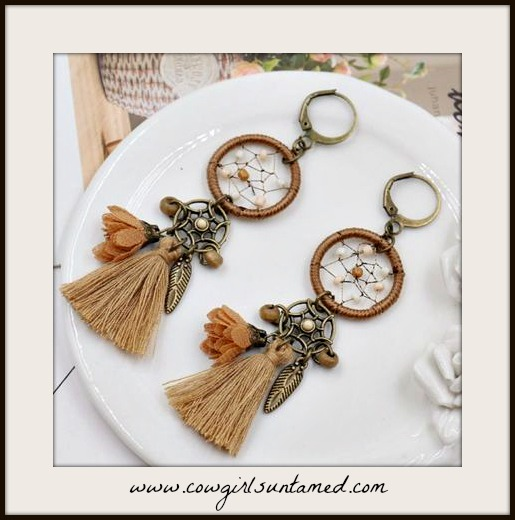 BOHEMIAN COWGIRL EARRINGS Antique Bronze Dreamcatcher Mocha Tassel Long Earrings
