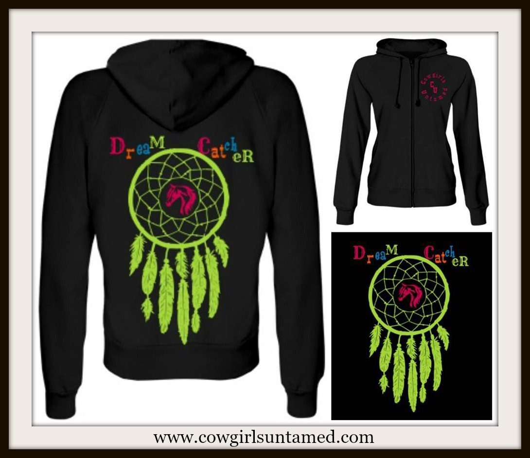 "AMERICAN COWGIRL SWEATSHIRT Multi Color ""Dream Catcher""  Zip Front Western Hoodie"