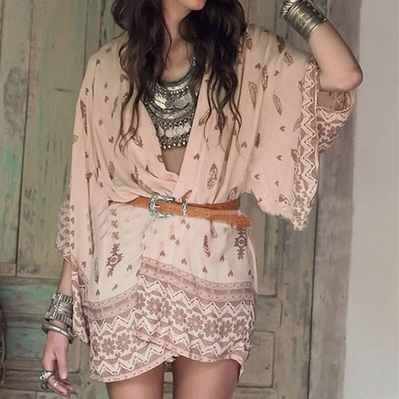 WILDFLOWER KIMONO  Feather & Floral Design on Pink Boho Gypsy Kimono  2 COLORS